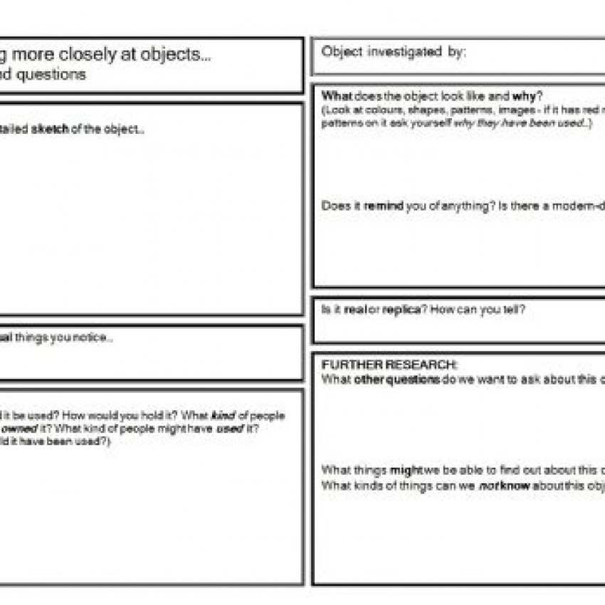 'Looking at Objects': Object Enquiry Form