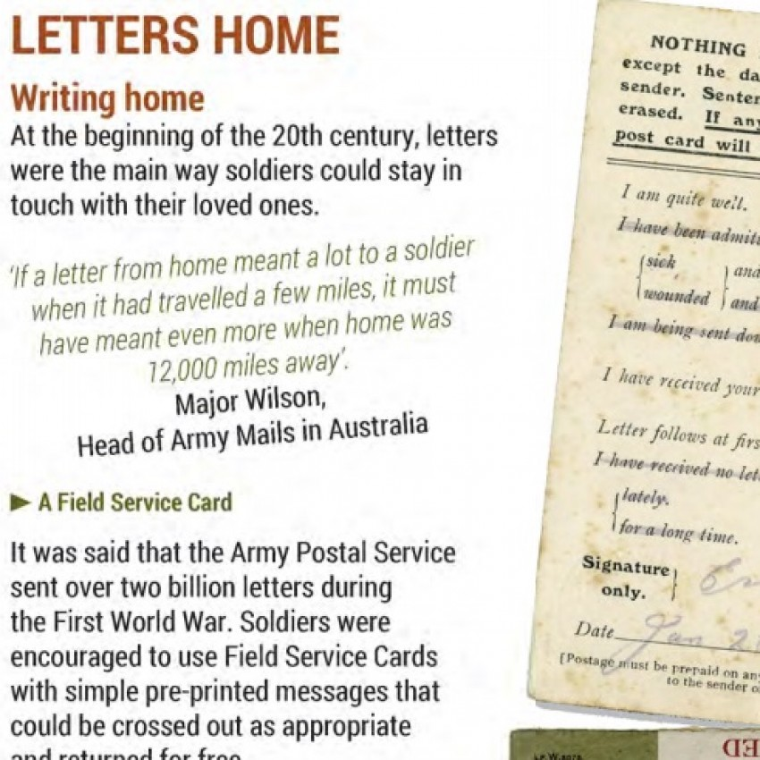 Info Sheet on Writing Letters Home from the Front in WW1