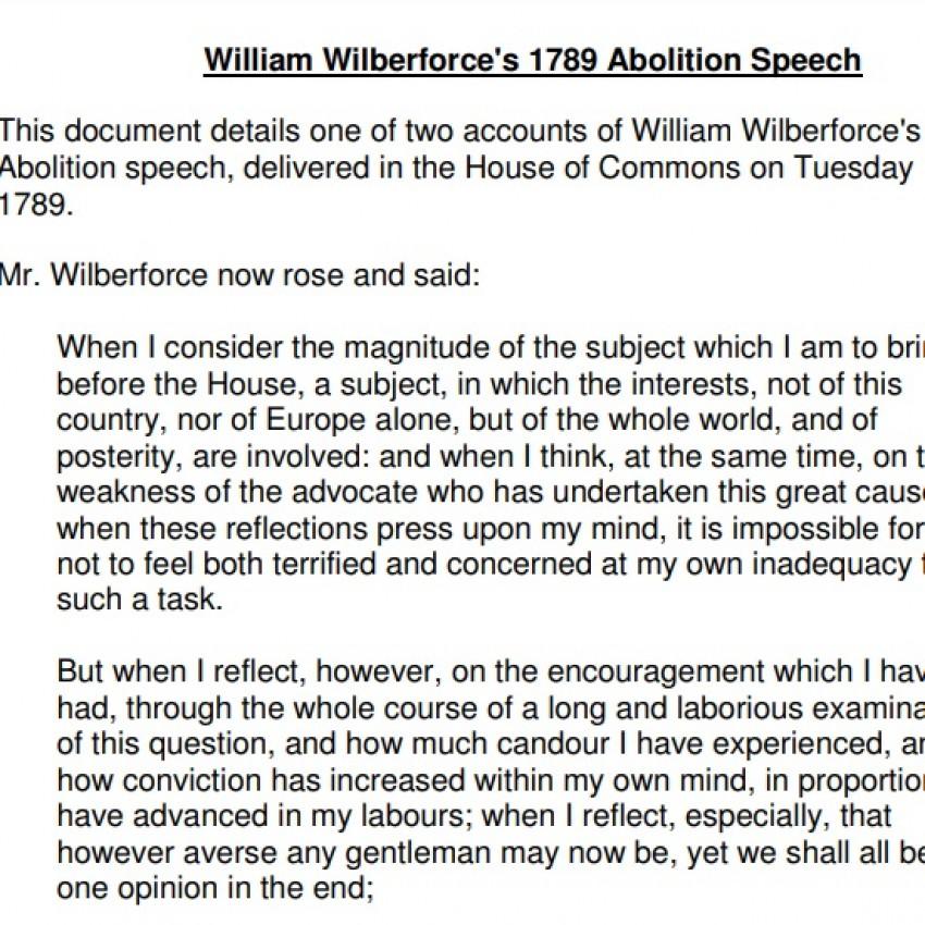 Wilberforce's Abolition Speech Text