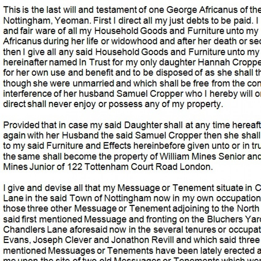 Transcript of George Africanus' Will