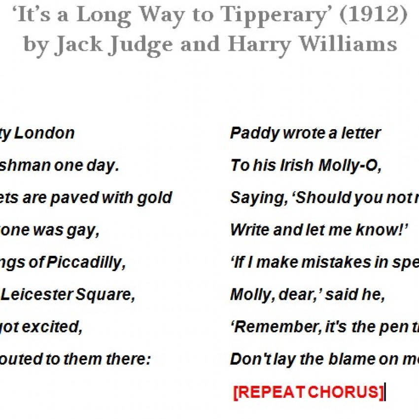 Lyric sheet: 'It's a Long Way to Tipperary'