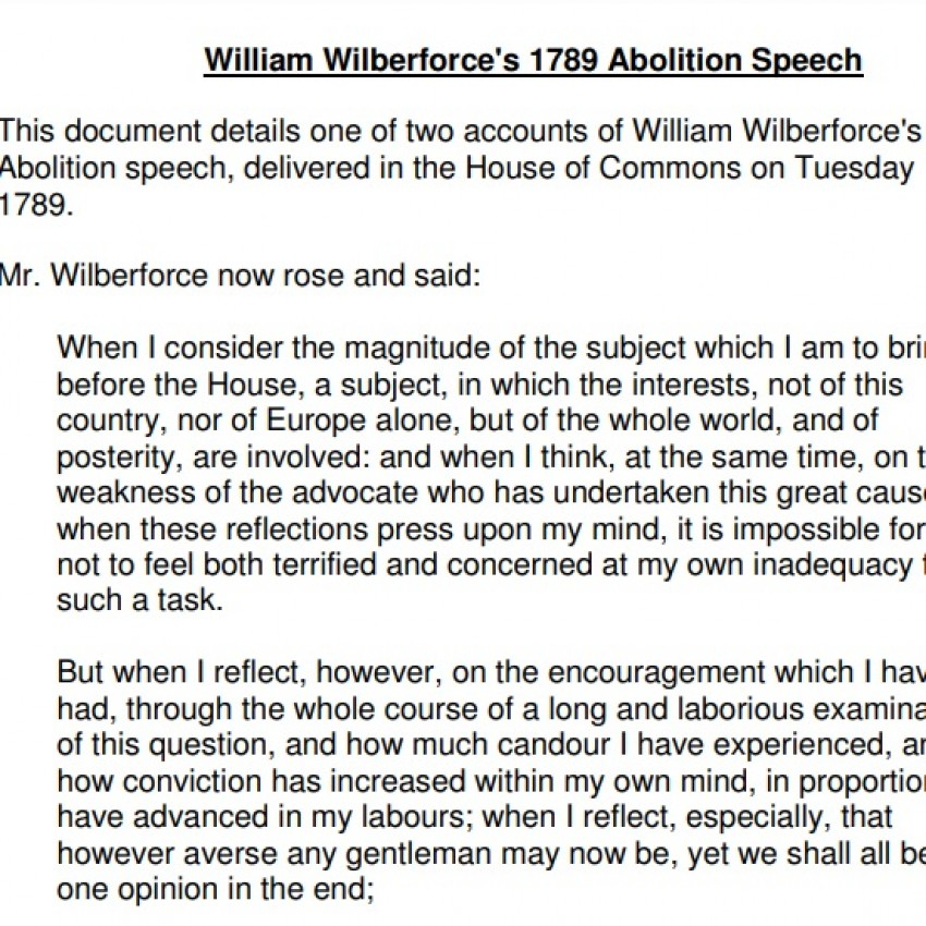Wilberforce's Abolition Speech - 19 Abolition