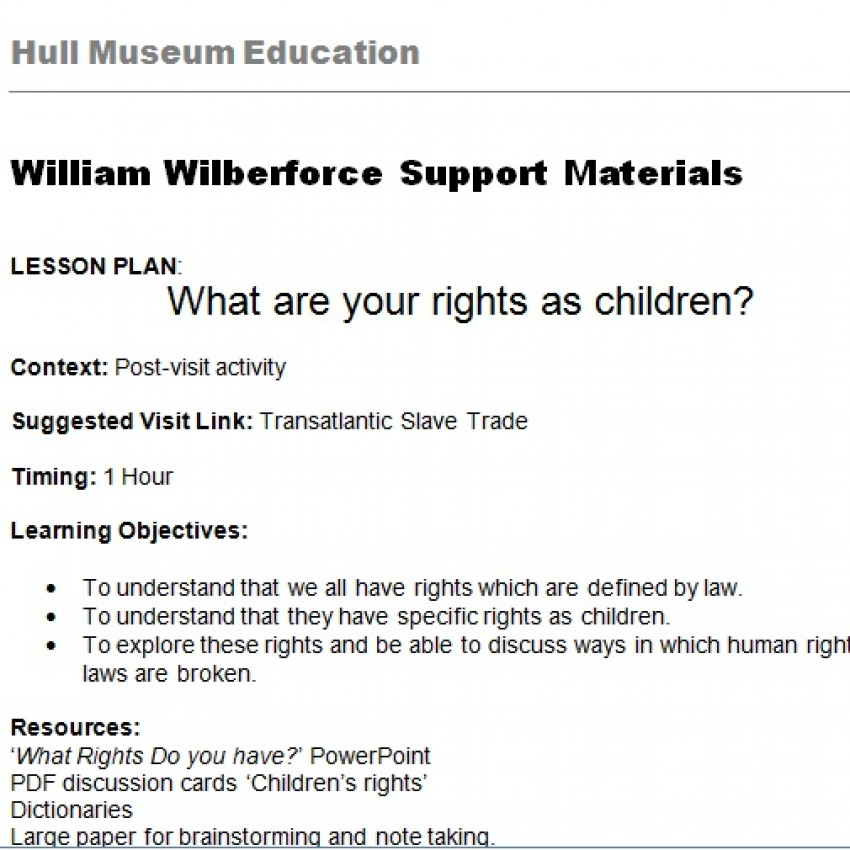 What Rights Do You Have? Lesson Plan