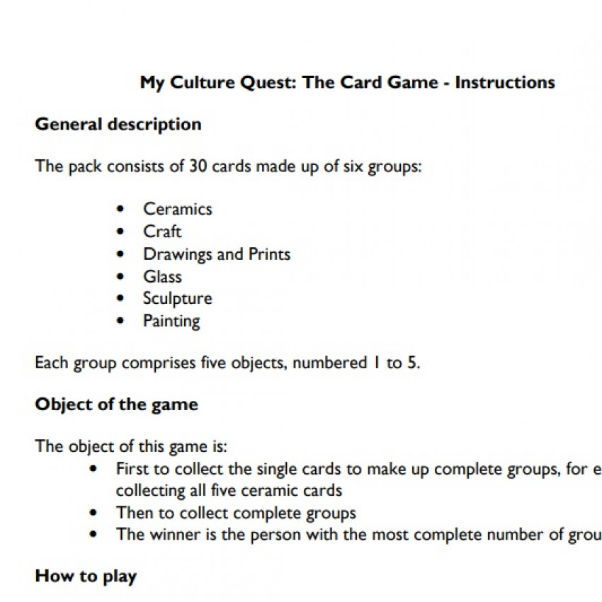 Instructions for My Culture Quest Card Game