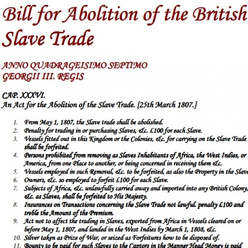Bill for the Abolition of the British Slave Trade