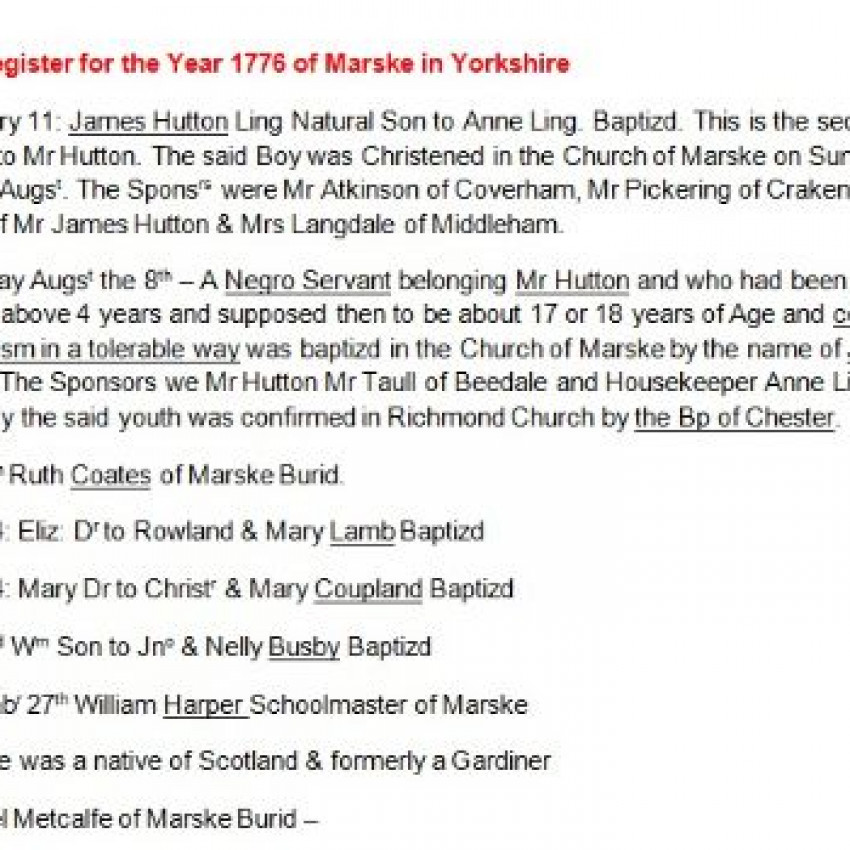 Transcript of the 1776 record of the village of Marske, Yorkshire